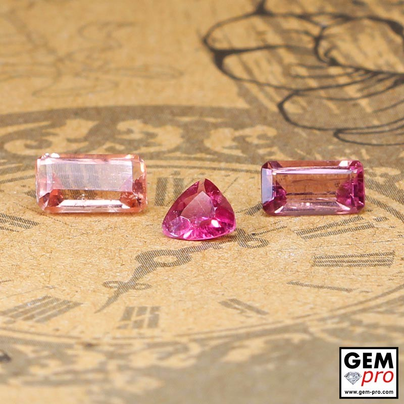 2.38 ct Rose Pink Tourmaline Gem 3 pcs from Madagascar Natural and Untreated