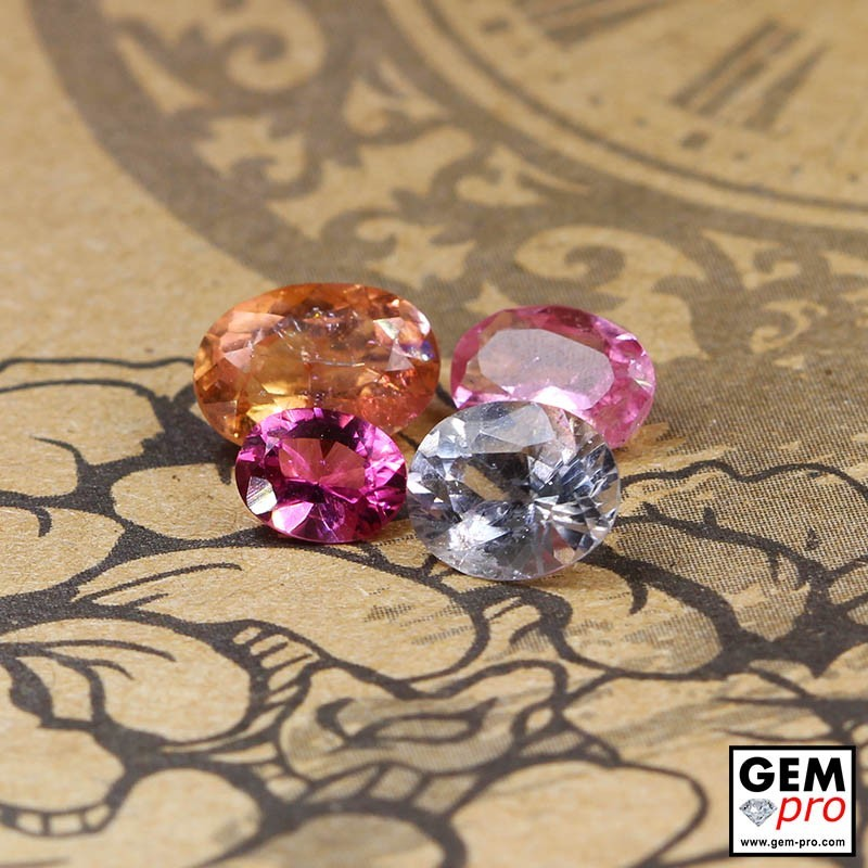 3.53 ct Mixed Colors Tourmaline Gem 4 pcs from Madagascar Natural and Untreated