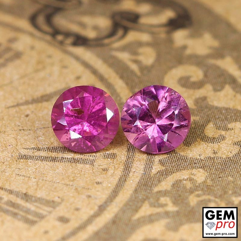 1.34 ct Rose Pink Tourmaline Gem 2 pcs from Madagascar Natural and Untreated