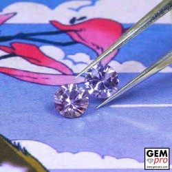 Pinkish Violet Sapphire 0.54 ct Round (2 pcs) from Madagascar Gemstone