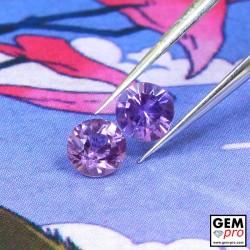Pinkish Violet Sapphire 0.35 ct Round (2 pcs) from Madagascar Gemstone