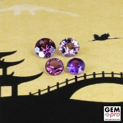 Pinkish Violet Sapphire 0.99 ct Round (4 pcs) from Madagascar Gemstone