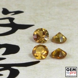 0.91ct Yellow Golden Sapphire (4 pcs) Lot Round Cut Natural Gemstone from Madagascar