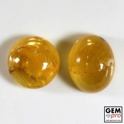 35.34 Carat Yellow Orange Fire Opal Gem 2 pcs from Madagascar Natural and Untreated