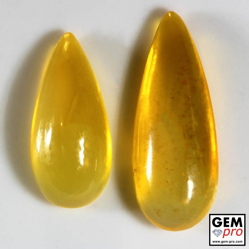 15.10 Carat Yellow Orange Fire Opal 2 pcs Gem from Madagascar Natural and Untreated