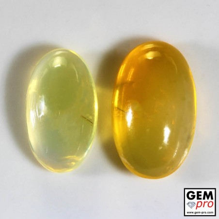 18.60 Carat Yellow Orange Fire Opal 2 pcs Gem from Madagascar Natural and Untreated