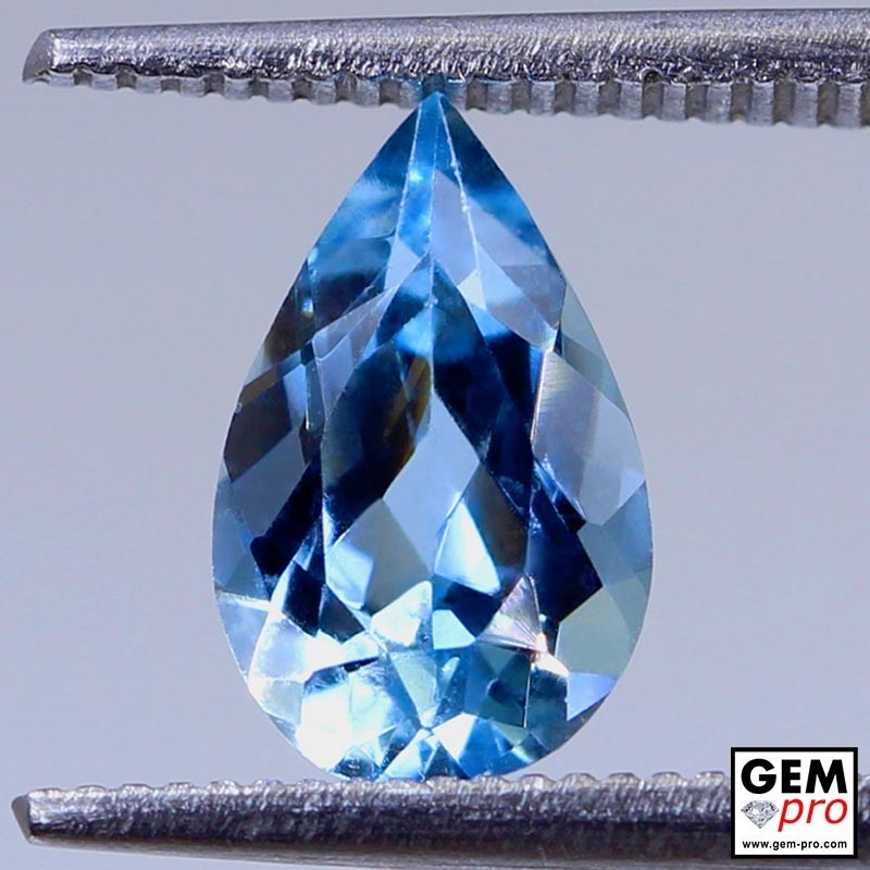 Blue Aquamarine 1.4ct Pear from Madagascar Natural and Untreated Gemstone
