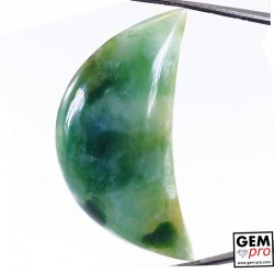 Green Moss Agate 65.60 ct Half-Moon from Madagascar Gemstone