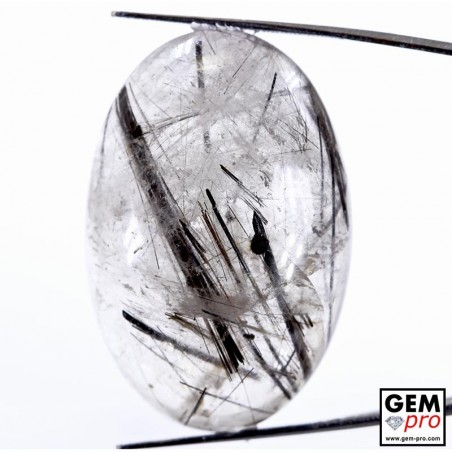 84.85 ct Oval Black Tourmaline in Colorless Quartz Gemstone from Madagascar Natural and Untreated