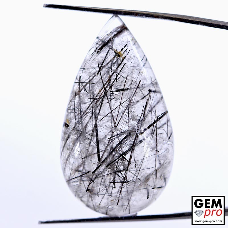 34.11 ct Pear Black Tourmaline in Colorless Quartz Gemstone from Madagascar Natural and Untreated