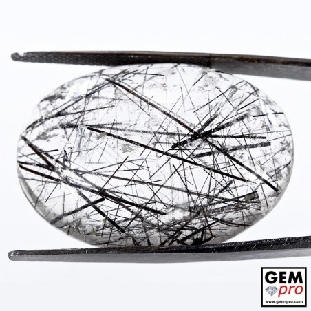 42.82 ct Oval Black Tourmaline in Colorless Quartz Gemstone from Madagascar Natural and Untreated