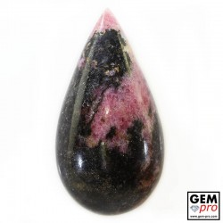 84.46 ct Pear Pink Black Rhodonite Gemstone from Madagascar Natural and Untreated