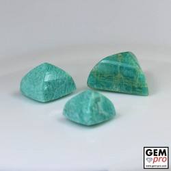 61.50ct Amazonite A+ (3 pcs) Sugar Loaf Cabochon Natural Gemstone from Madagascar