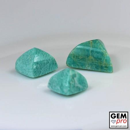 61.50ct Amazonite A+ (3 pcs) Sugar Loaf Cabochon Natural Gemstone from Madagascar