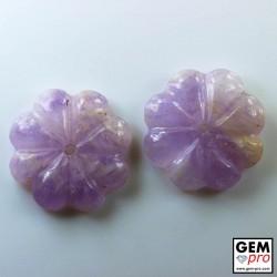 Améthyste Violet  (2 p.) Lot 52.45 cts Cabochon Forme Fleur de Madagascar
