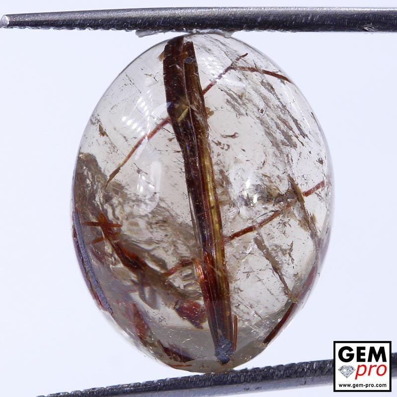 15.49 ct Oval Quartz with Rutile Gemstone from Madagascar Natural and Untreated