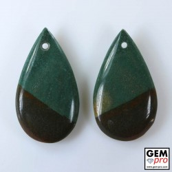 35.23 ct Bi-Color Green & Black Jasper Gemstone (2 pcs) from Madagascar Natural and Untreated