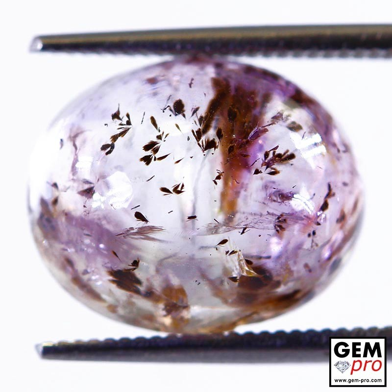 Amethyst inclusions Goethite 8.41ct Oval Shape Cabochon from Madagascar Natural and Untreated Gemstone
