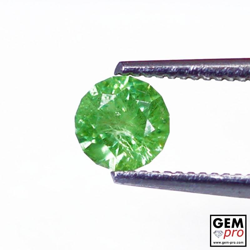 0.63 carat Round 5.1 x 5.1 mm Green Demantoid Garnet Gemstone
