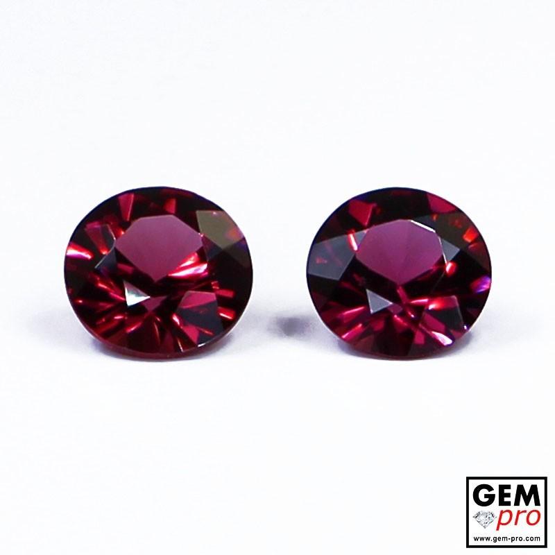 """1.96 carat Round Ø 6.0/6.2 mm (2 pcs) Natural and Untreated Pink """"Ampanihy"""" Rhodolite Garnet Gemstone"""