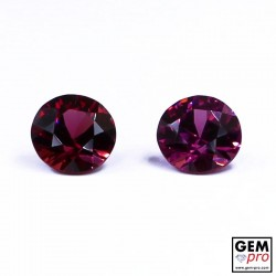 "2.26 carat Round Ø 6.1/6.2 mm (2 pcs) Natural and Untreated Pink ""Ampanihy"" Rhodolite Garnet Gemstone"