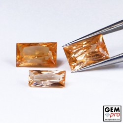 1.37 Carat Orange Spessartite Garnet (3 pcs) Gem from Madagascar Natural and Untreated