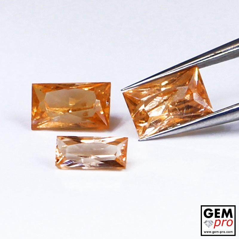 1.37 Carat Grenat Spessartite Orange 3 p. Gemme de Madagascar
