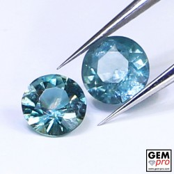 Blue Santa Maria Africana Aquamarine 0.70 ct (2pcs ) Lot Round Cut from Madagascar Natural and Untreated Gemstone