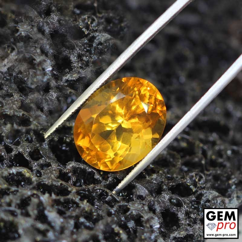 Yellow Golden Orangey Citrine Oval Cut From Madagascar 12 ct. - 16 x 13 mm