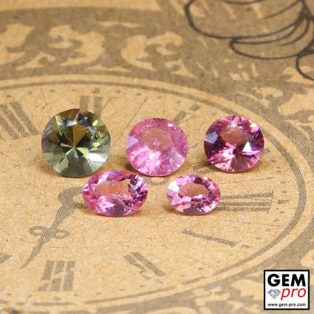 Mixed Colors and Shapes Tourmaline Faceted Gemstones Oval Round, 2.5 ctw. from Madagascar