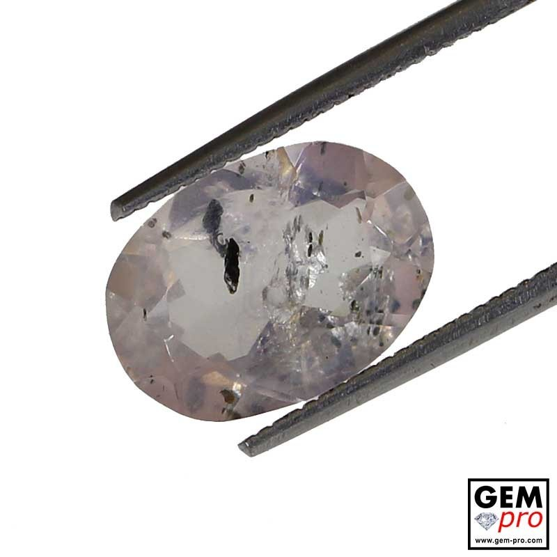 Rose Quartz with Hematite & Diopside Inclusions Oval-Cut 3.3 ct.