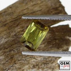 Greenish Yellow Baguette Cut Tourmaline from Madagascar (Ibity) 1.1 ct.