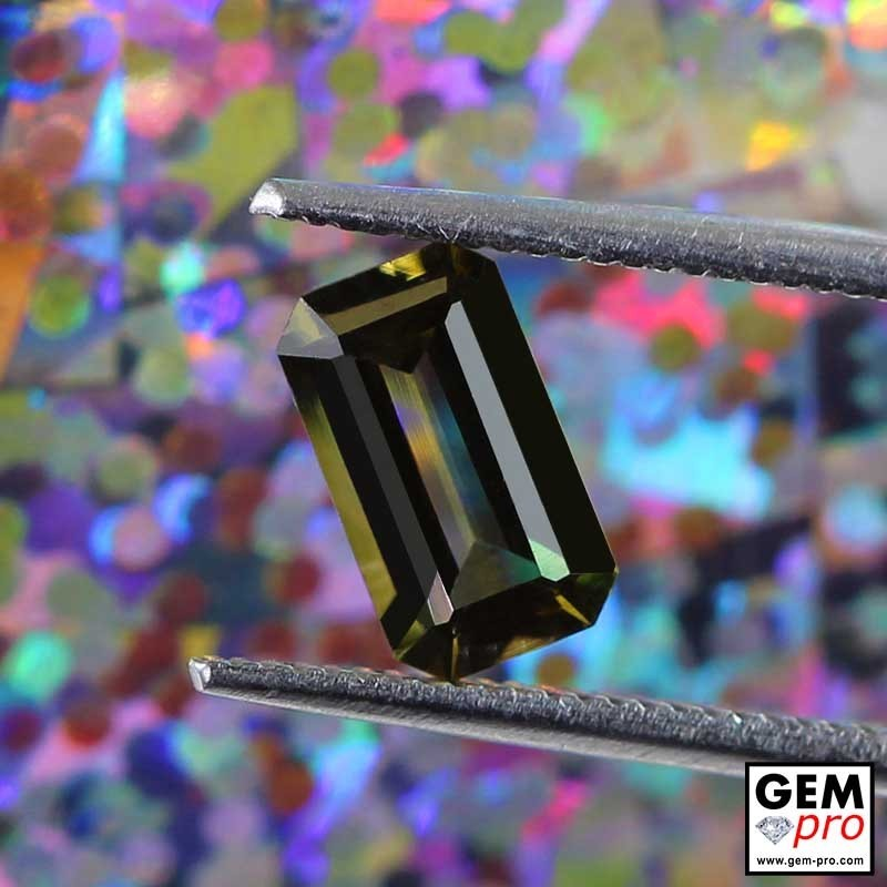 Olive Green Tourmaline Baguette CUt 1 ct. from Madagascar
