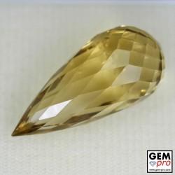 Briolette Cut Citrine 30.42 carat, precision cut: 29.8 x 13.7 x 13.6 mm natural gemstone from Madagascar.