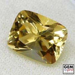 Golden Yellow Citrine 6 Carat Cushion Cut from Madagascar Gemstone
