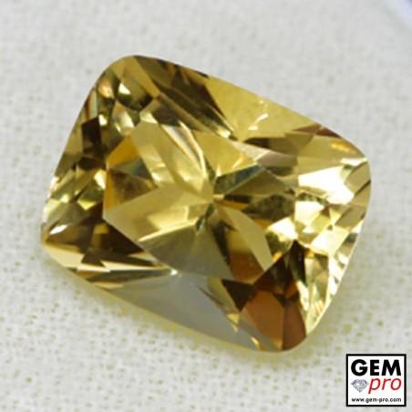 Golden Yellow Citrine 6 Carat Cushion Cut from Madagascar Gemstone
