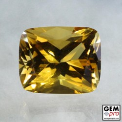 Golden Yellow Citrine 4 Carat Cushion Cut from Madagascar Gemstone