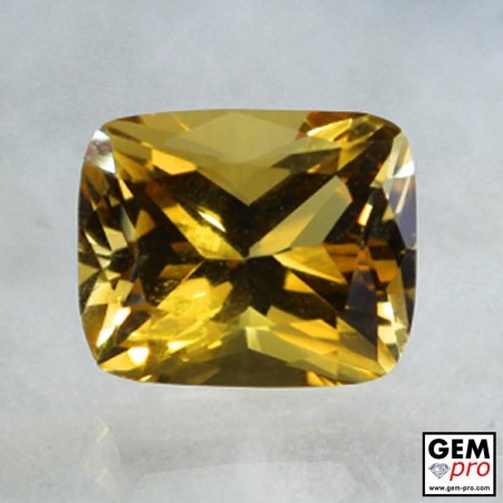 Golden Yellow Citrine 4 Carat Cushion Cut from Madagascar Gemstone